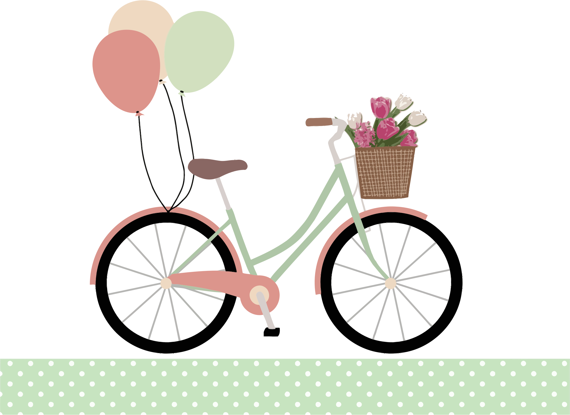 free stock Biking clipart wedding. Bicycle with balloons by.