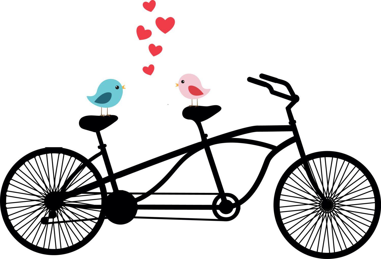 clip royalty free stock Biking clipart wedding. Tandem bicycle love birds.