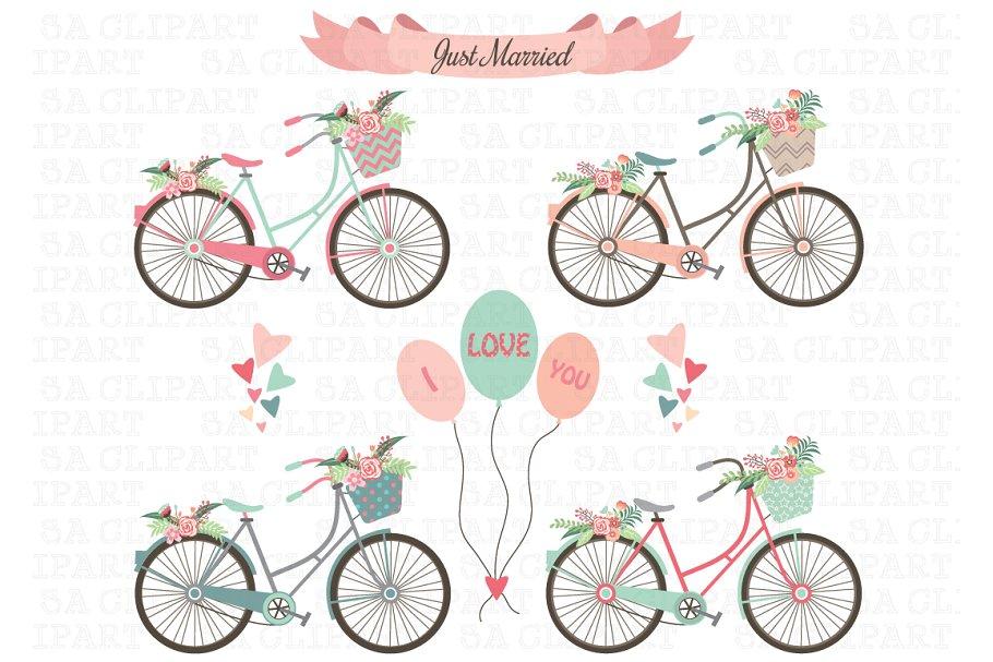 jpg library Bike illustrations creative market. Biking clipart wedding.