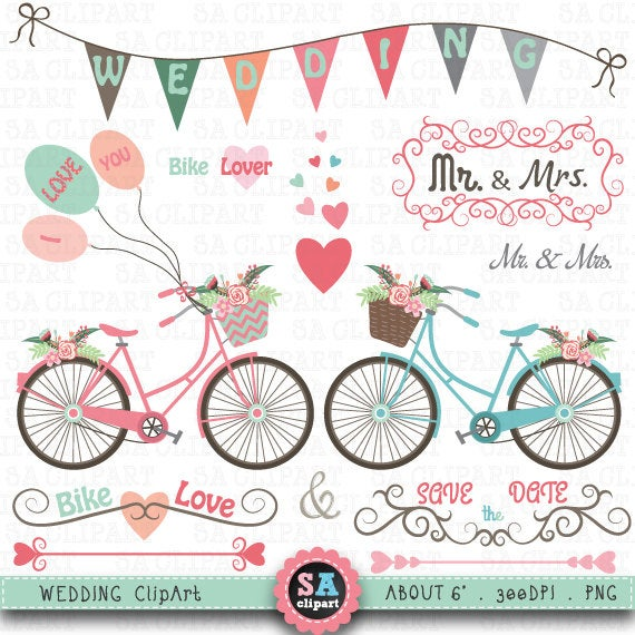 clip art library stock Bike clip art pack. Biking clipart wedding.