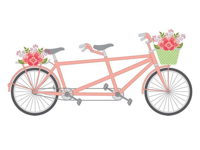 clip art royalty free library Tandem bike vector . Biking clipart wedding.