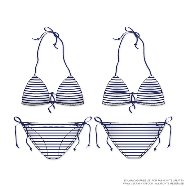 jpg library stock Women nautical striped swim. Bikini vector swimwear