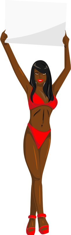 svg freeuse library Bikini clipart. Girl with sign red.