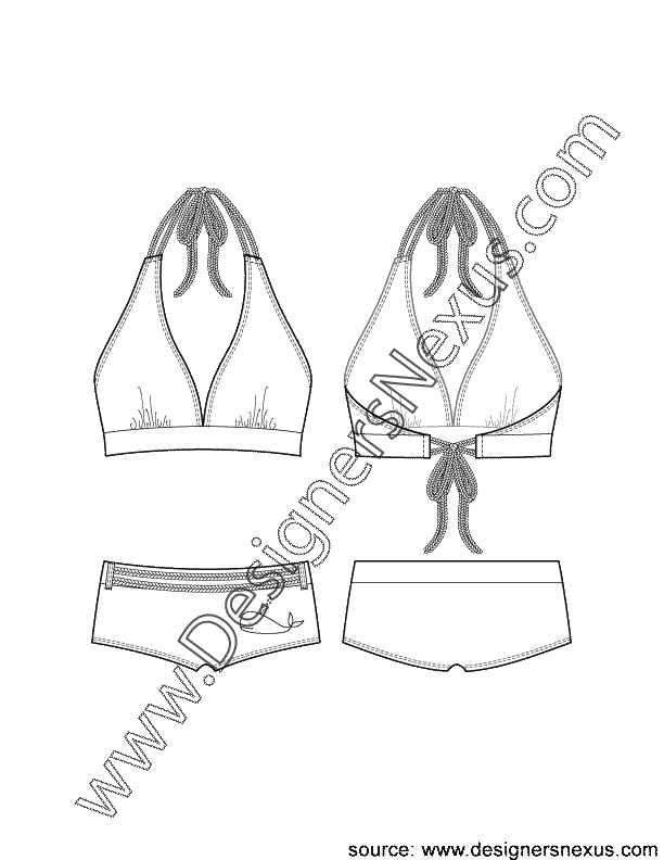image transparent library Bikini drawing. Flat sketch v neck