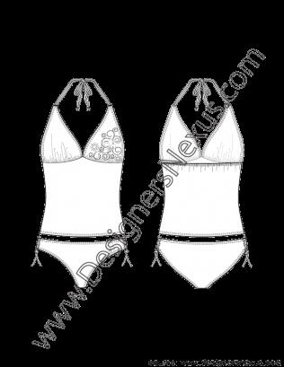 png black and white download Bikini drawing halter top. V flat sketch neck