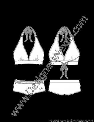 banner transparent stock Flat sketch v neck. Bikini drawing illustration