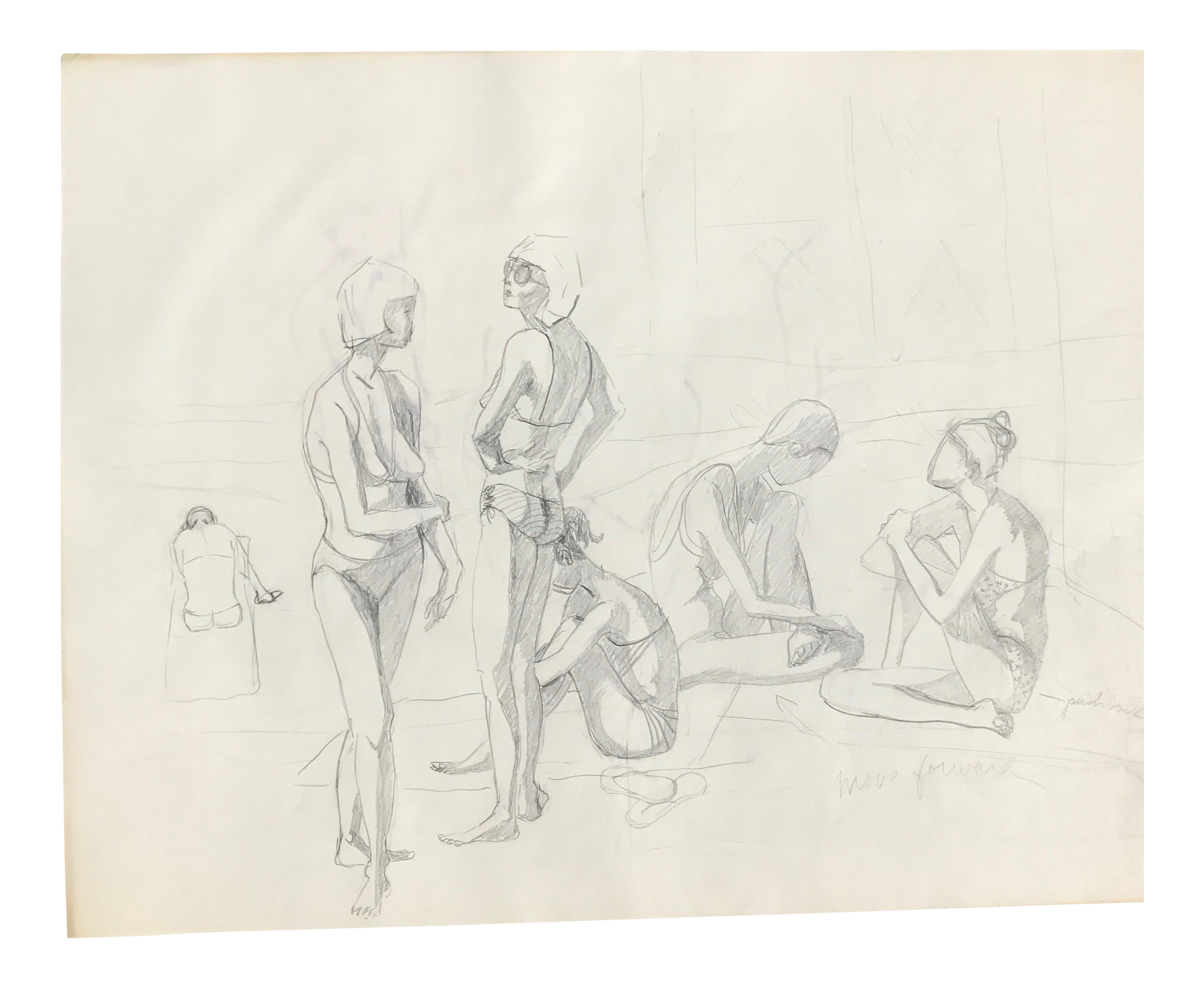 svg black and white library Bikini drawing pencil. Original midcentury california sketch