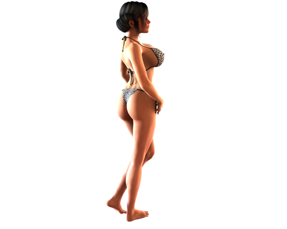 picture black and white Bikini drawing person. Model for side view
