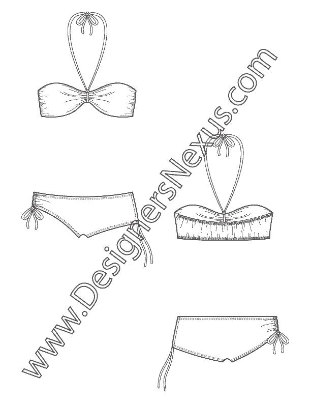 picture library download Swimwear apparel flat v. Bikini drawing sketch