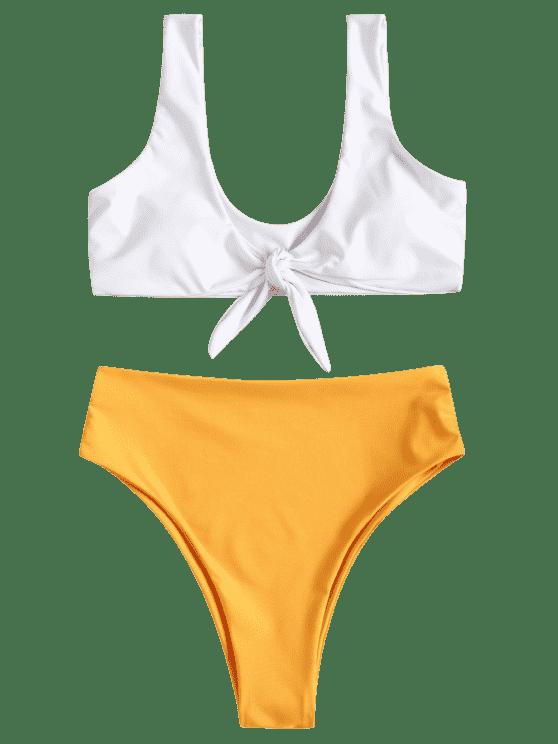 jpg royalty free Bikini transparent hi cut. Two tone high knotted