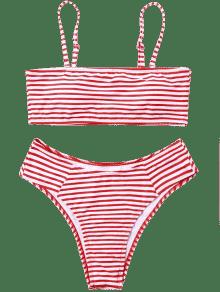vector Striped swimsuits red bikinis. Bikini transparent high cut