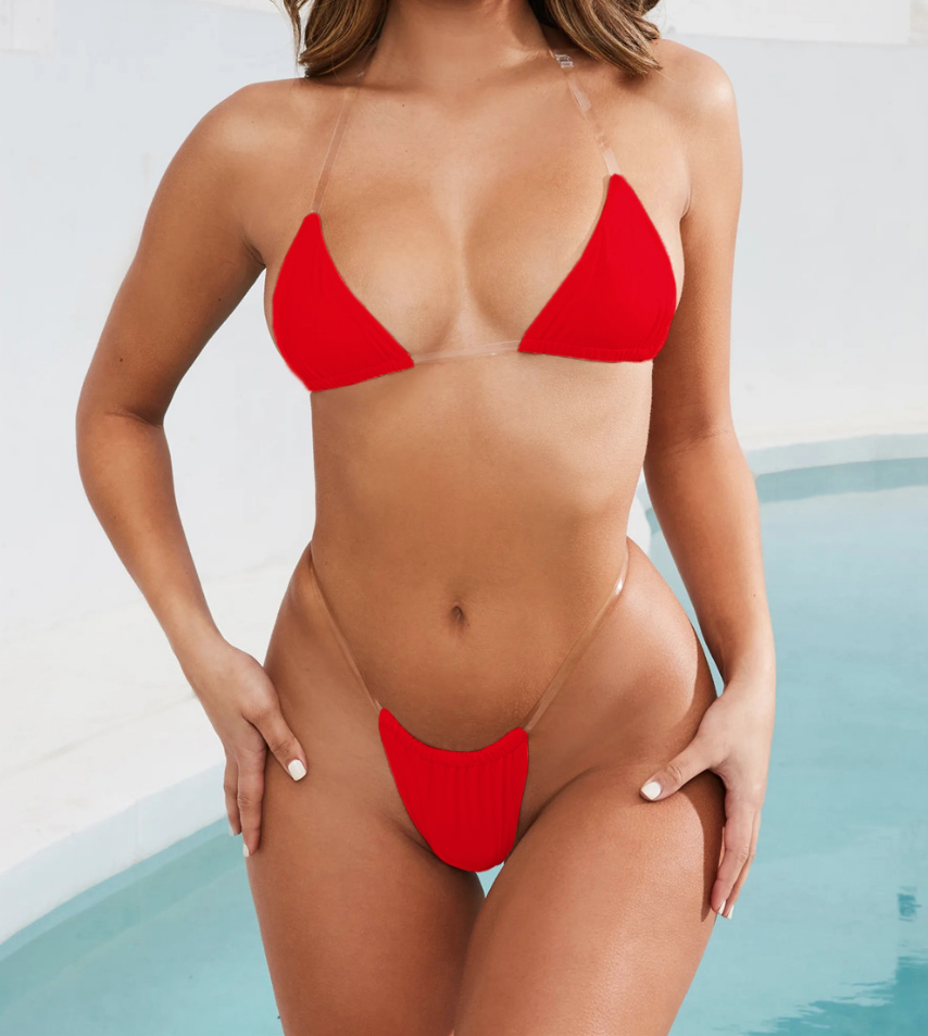 svg black and white library Bikini transparent red. Thong