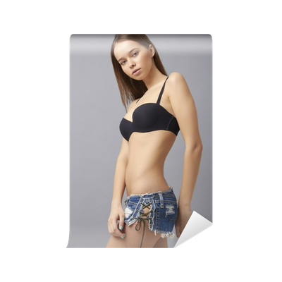 vector freeuse library Beautiful sports fitness woman. Bikini transparent shorts