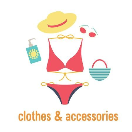 clip stock Cloths and accessories with. Bikini vector beach accessory