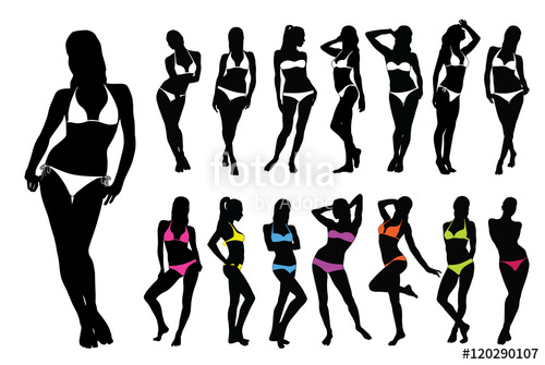 picture free download Silhouettes of woman in. Bikini vector silhouette