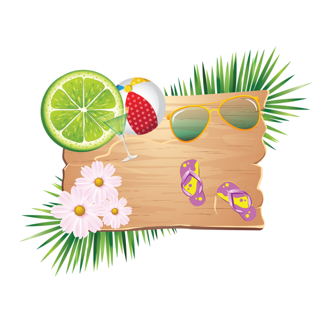 vector royalty free library Elements on wood with. Bikini vector summer element