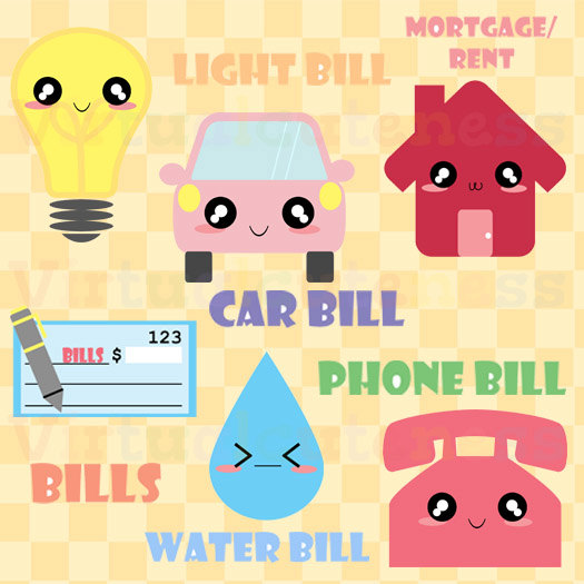 graphic freeuse Monthly bills mortgage by. Bill clipart kawaii.