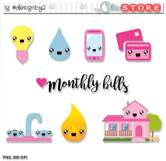 image freeuse download Monthly bills cute due. Bill clipart kawaii.