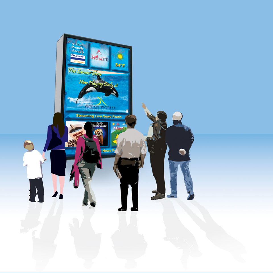 png black and white People viewing signage illustration. Billboard vector digital