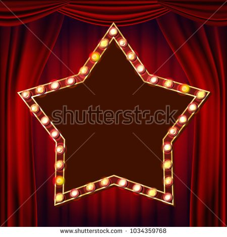 clipart black and white Star red theater curtain. Billboard vector retro