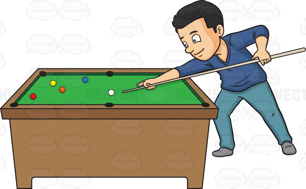 png black and white library A man playing cartoon. Billiards clipart pool game.