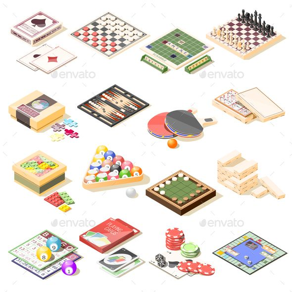 clip art royalty free library Games isometric icons set. Bingo vector board