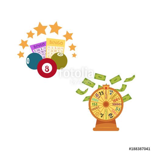graphic black and white Bingo vector wheel. Flat cartoon lottery tickets