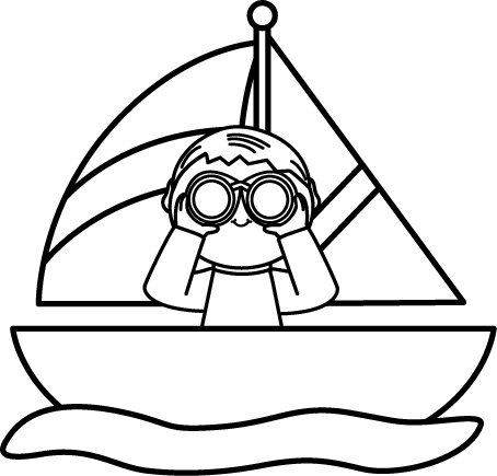image royalty free library Black and White Boy with Binoculars in a Sailboat Clip Art