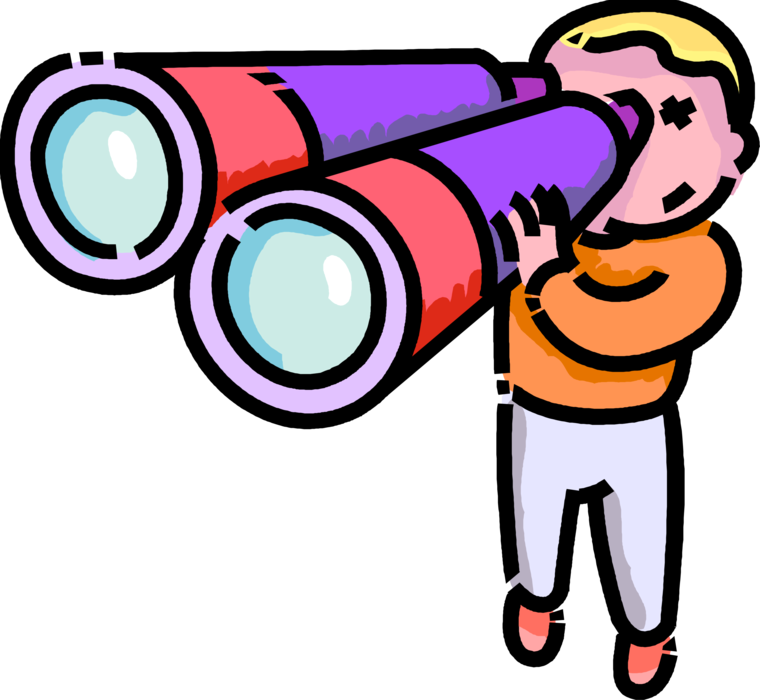 picture transparent Boy looks vector image. Looking through binoculars clipart
