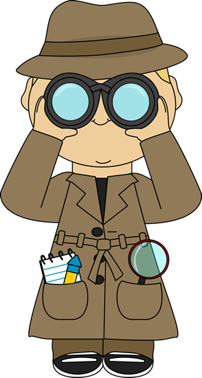 banner library library Looking through binoculars clipart. Detective with clip cards