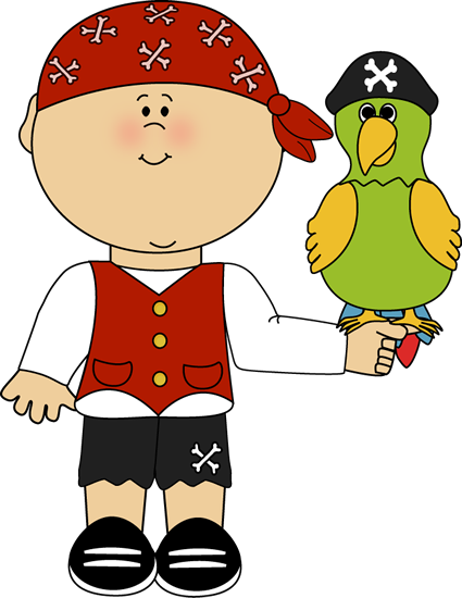 jpg black and white library PIRATE BOY AND PARROT CLIP ART