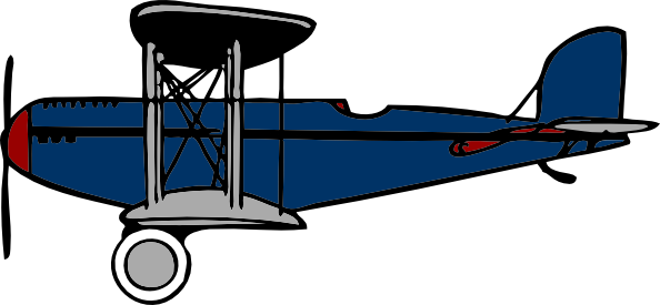 vector black and white library Red Blue Biplane Clip Art at Clker