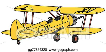 banner transparent Biplane clipart yellow. Vector illustration old stock.