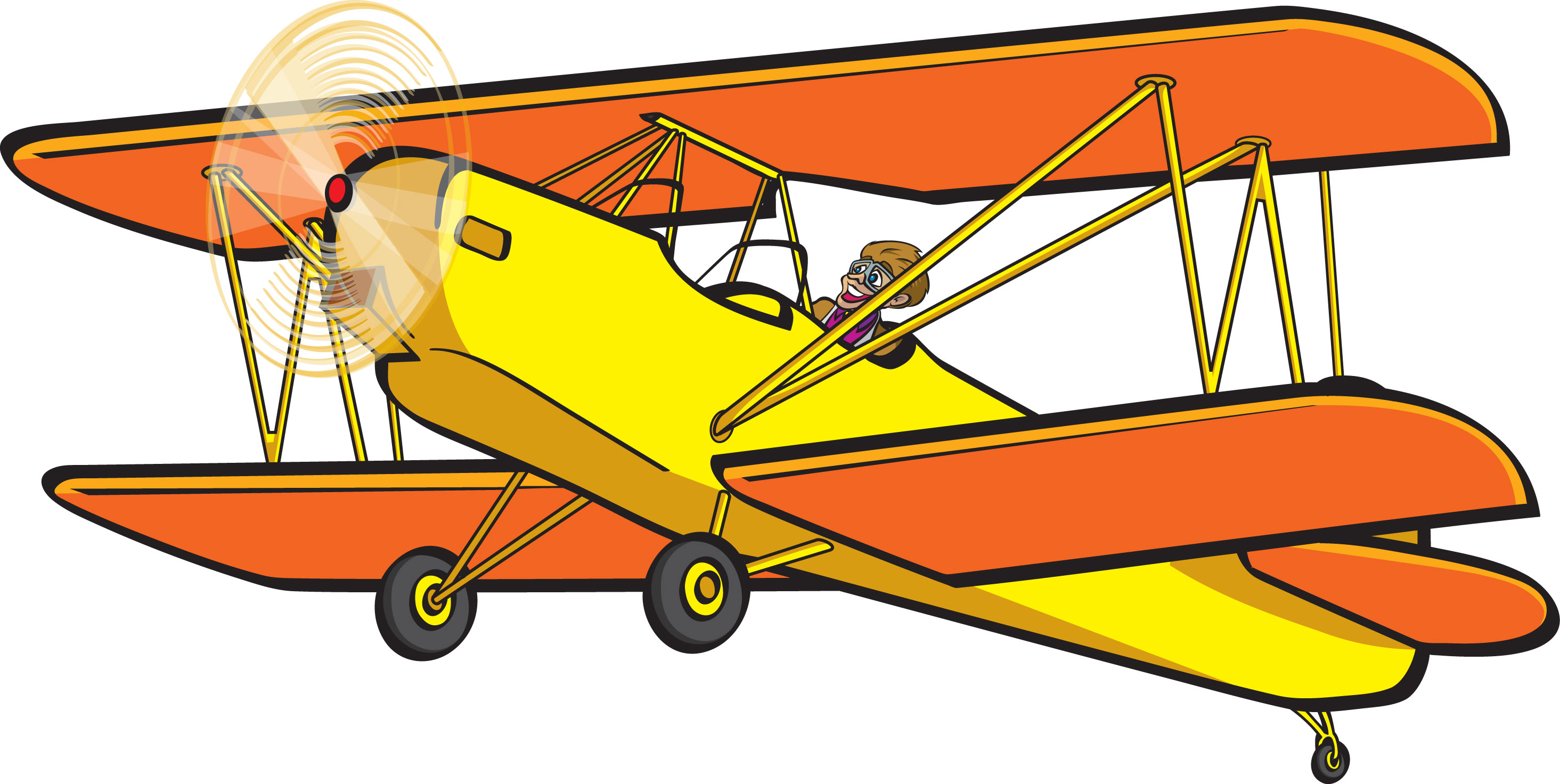 svg black and white library Biplane clipart yellow. Airplane .
