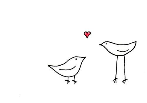 clip art Valentine drawing simple. Little bird at paintingvalley