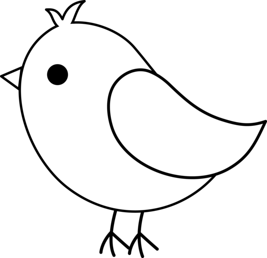 image black and white library Cute Bird Line Art