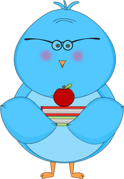 svg free library Little blue with book. Bird clipart school.