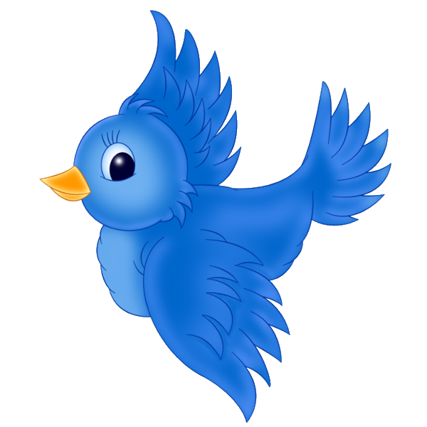 jpg library library Blue clip art cartoon. Birds clipart