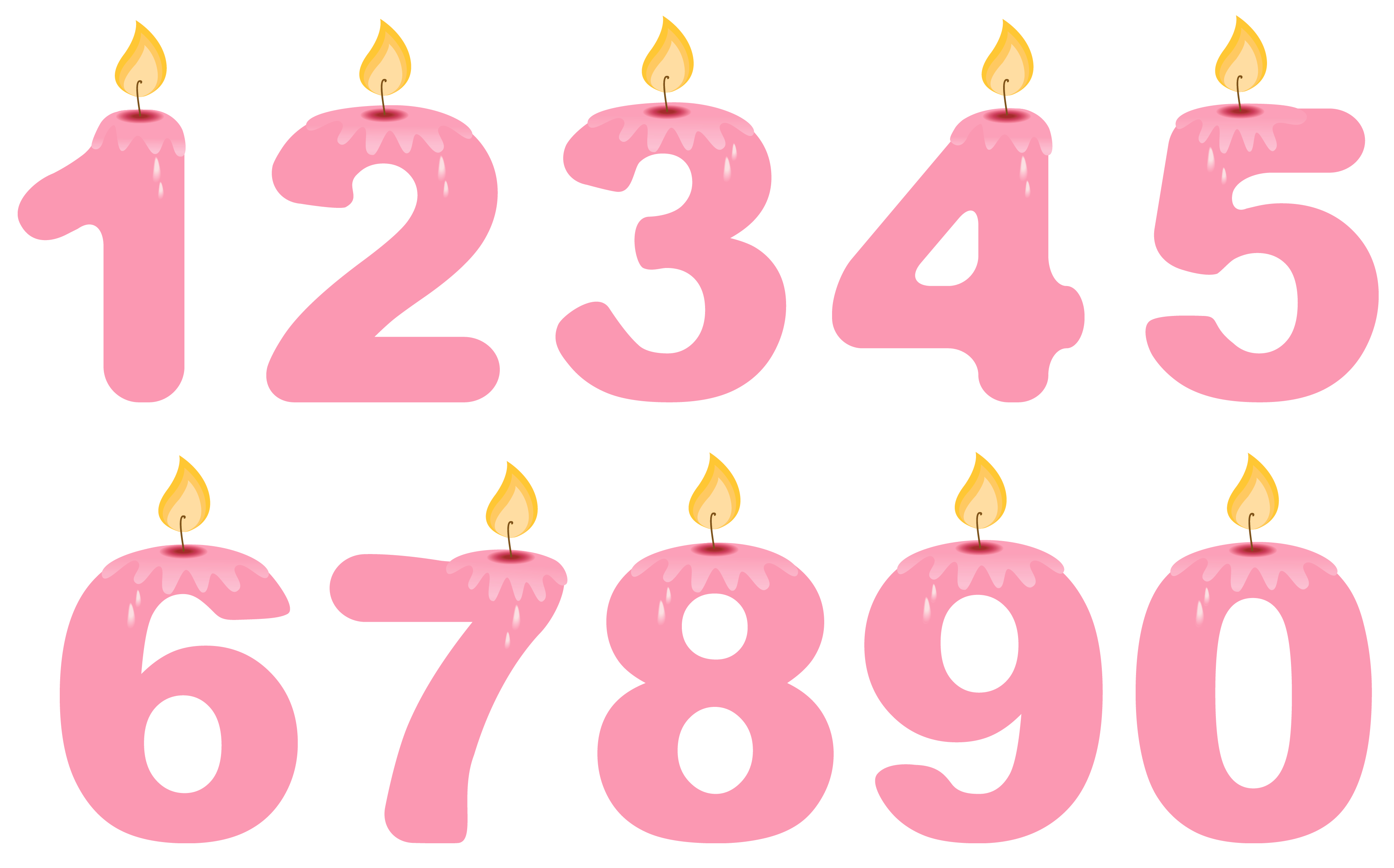 clipart royalty free stock Transparent Numbers Birthday Candles Pink PNG Clipart