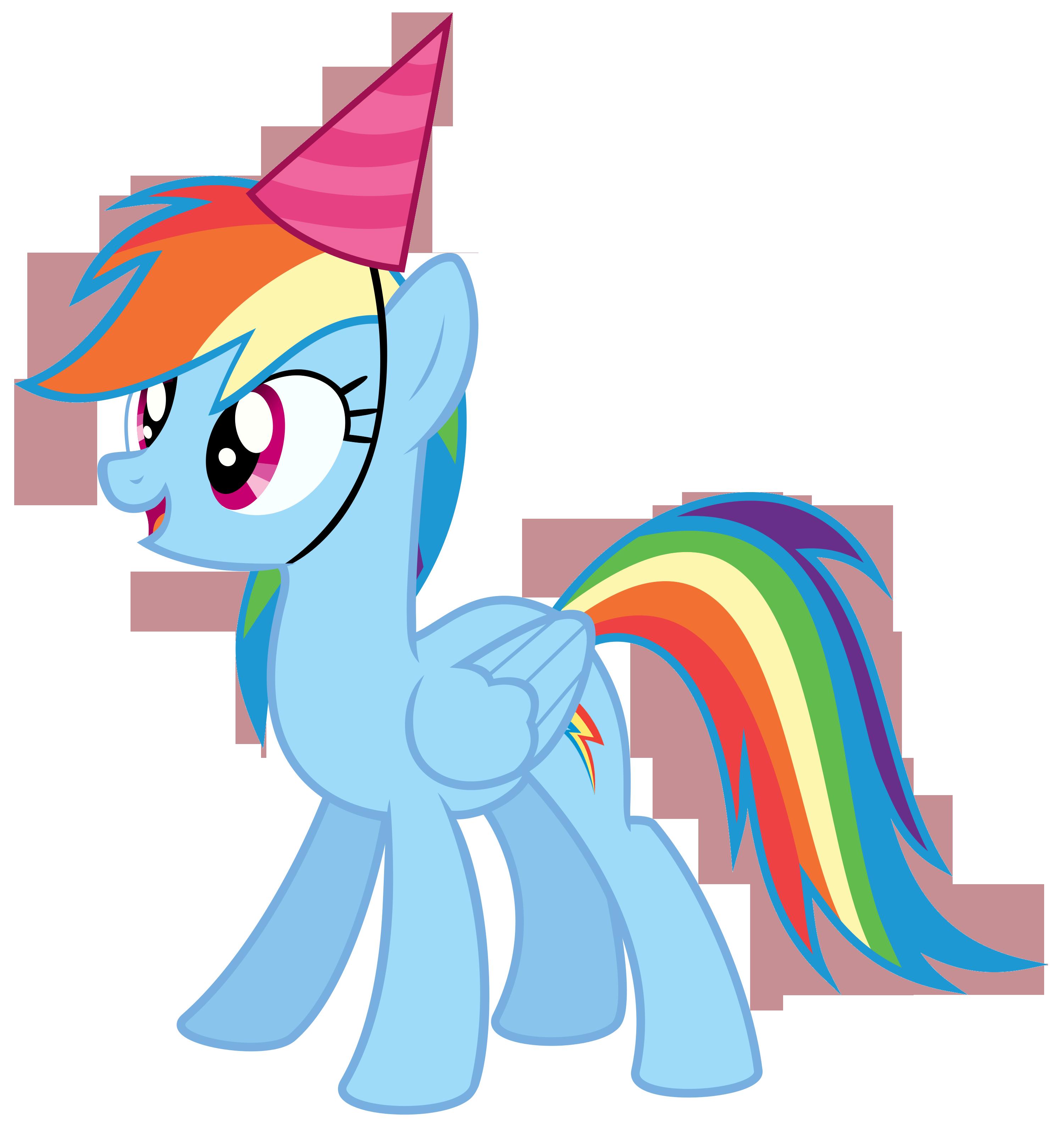 jpg stock Rainbow dash with a. Birthday clipart my little pony.