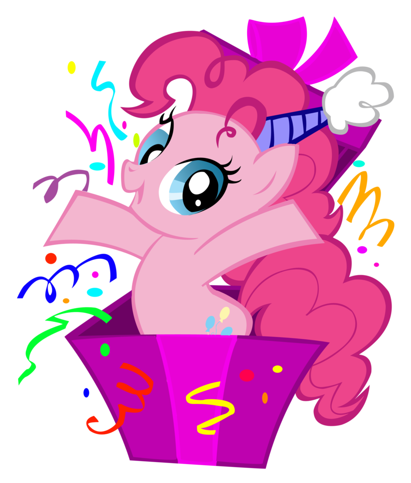 png freeuse library Pinkie in a box. Birthday clipart my little pony.