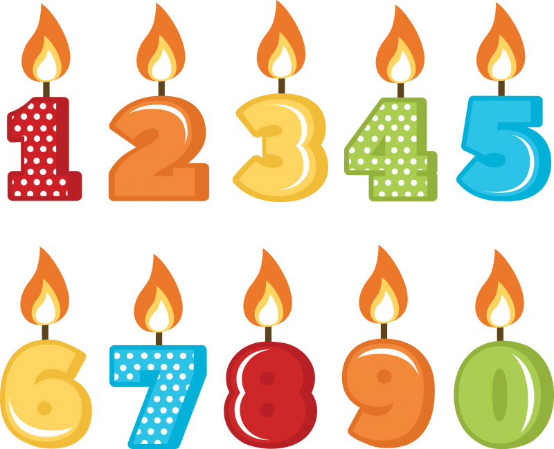 png stock Transparent candle number. Birthday candles svg cut
