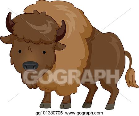 clip library download Bison clipart cute. Vector stock animal brown.