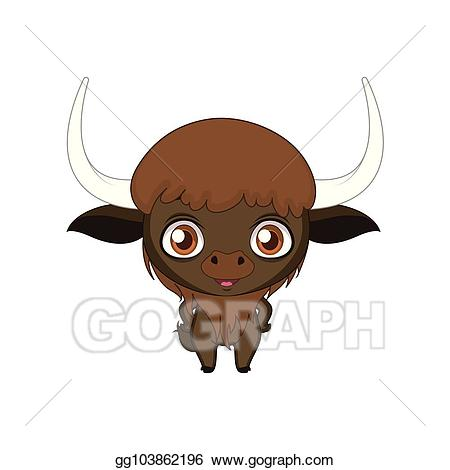 image black and white download Vector stylized cartoon illustration. Bison clipart cute.