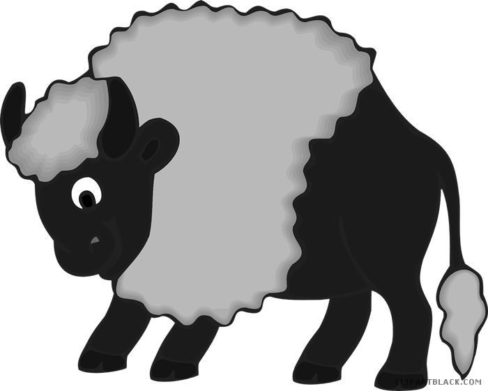 svg royalty free library Animal free black white. Bison clipart cute.