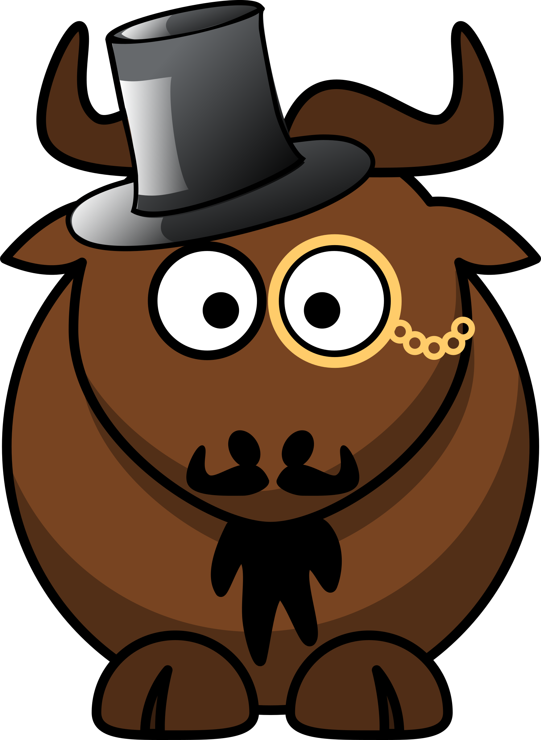 graphic freeuse stock Monocle clipart animated. Gnu brown free on.