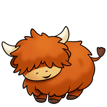 picture stock Cute fluffy highland cow. Bison clipart kawaii.