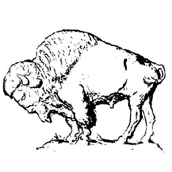 clip library Buffalo art clip line. Bison clipart sketches.