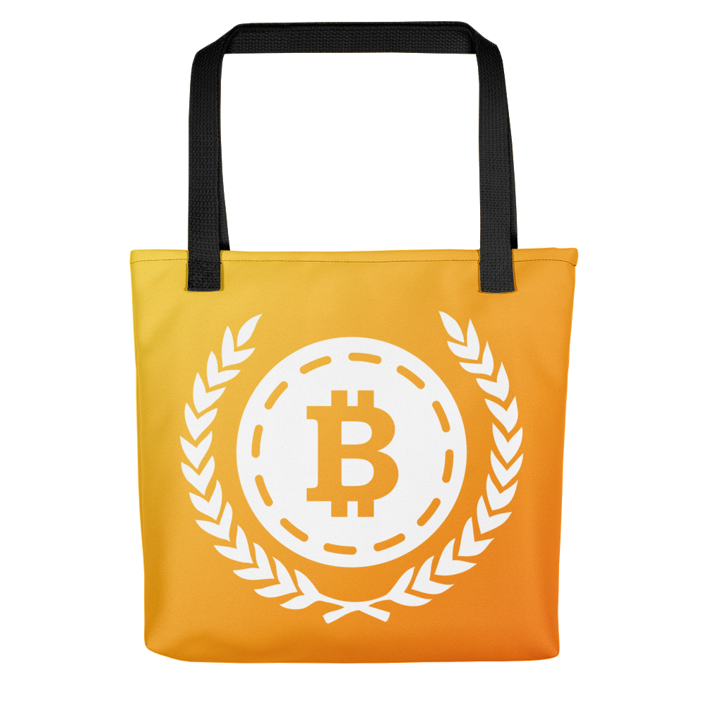 transparent All over sunrise tote. Bitcoin transparent bag