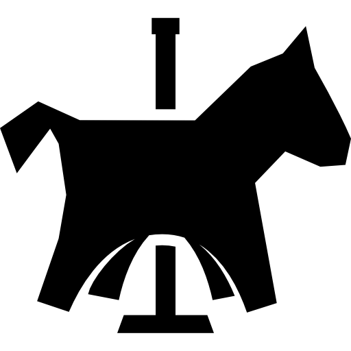 svg free stock Black and white carousel clipart. Funfair animals horse icon.